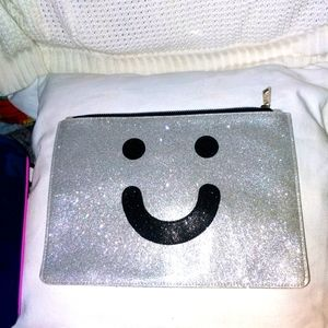 Sparkly silver large cosmetic bag